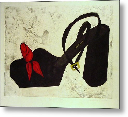 Sexy Metal Print featuring the painting Bendel Shoe by Cassandra Einstein