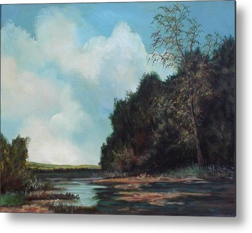 Original Acrylic Landscape On Canvas Metal Print featuring the painting Beside Still Waters by Sharon Steinhaus
