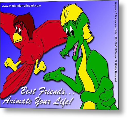 Cartoon Characters Metal Print featuring the painting Best Friends...animate Your Life by Michael James Toomy