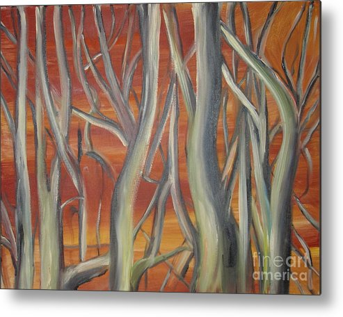Trees Forest Original Painting Abstract Metal Print featuring the painting Beyond by Leila Atkinson