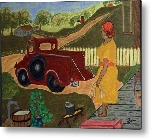 Red Truck Metal Print featuring the painting Big Mama Red Truck by Suzon Lemar