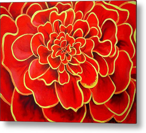 Diptych Metal Print featuring the painting Big Red Flower by Geoff Greene