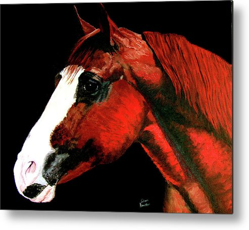 Original Oil On Canvas Metal Print featuring the painting Big Red by Stan Hamilton