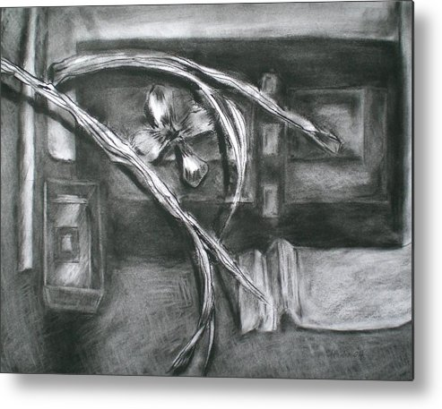 Still Life Metal Print featuring the drawing Black And White Composition II by Aleksandra Buha