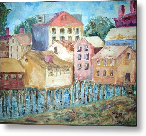 Landscape Bldgs Water Metal Print featuring the painting Bldgs In Boothbay Harbor by Joseph Sandora Jr