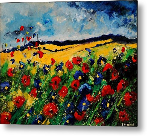 Poppies Metal Print featuring the painting Blue And Red Poppies 45 by Pol Ledent