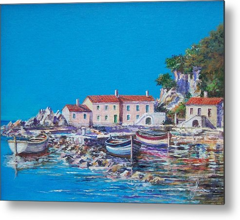 Original Painting Metal Print featuring the painting Blue Bay by Sinisa Saratlic