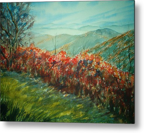 Landscape Metal Print featuring the painting Blue Ridge Parkway by Shirley Braithwaite Hunt