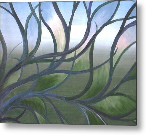 Tree Branches Abstract Landscape Metal Print featuring the painting Blue Skies by Sally Van Driest
