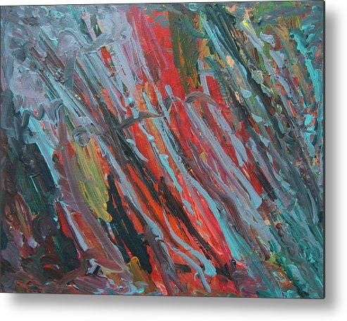 Streaks Metal Print featuring the painting Blue Streaks by Kitty Hansen