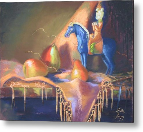 Oriental Metal Print featuring the painting Blue Tang And Pears by Britta Herzog