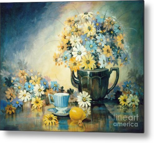 Blue Metal Print featuring the painting Blue Teacup And Lemon by JoAnne Corpany