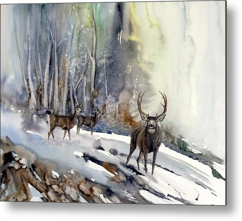 Mule Deer Metal Print featuring the painting Boone And Crockett by Lynne Parker
