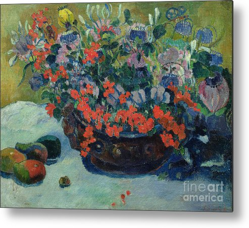 Bouquet Metal Print featuring the painting Bouquet Of Flowers by Paul Gauguin