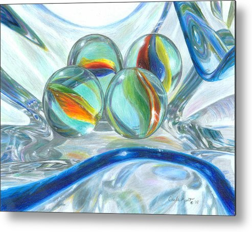 Glass Metal Print featuring the drawing Bowl Of Marbles by Carla Kurt
