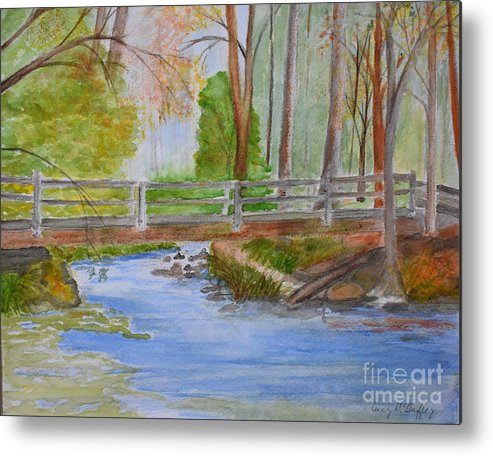 Creeks Metal Print featuring the painting Bridge To Serenity  Smithgall Woods State Park by Lucy McGuffey