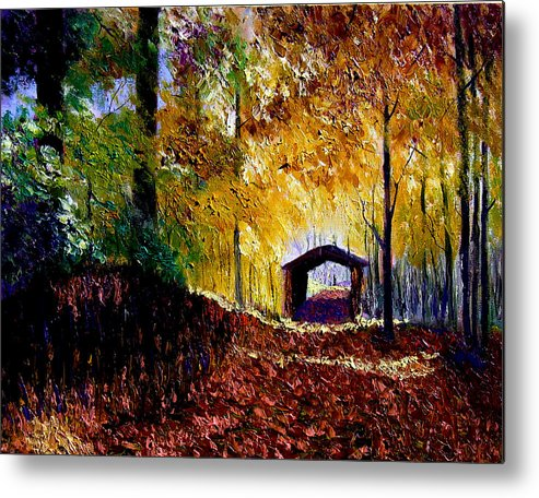 Ridge Metal Print featuring the painting Brown County Covered Bridge by Stan Hamilton