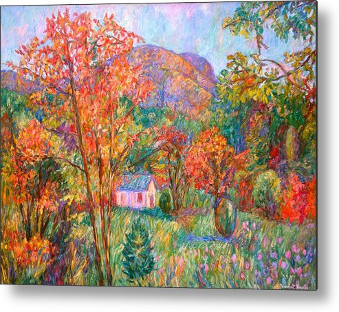 Landscape Metal Print featuring the painting Buffalo Mountain In Fall by Kendall Kessler