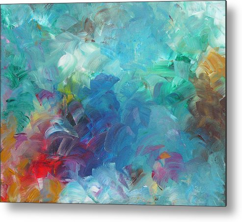 Abstract Metal Print featuring the painting Busy Day by Peggy King