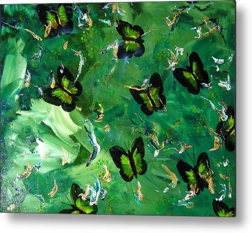 Butterflies Gold Green Bronze Metallic Vibrant Gorgeous Whimsical Metal Print featuring the mixed media Butterflies Are Free by Sher Green