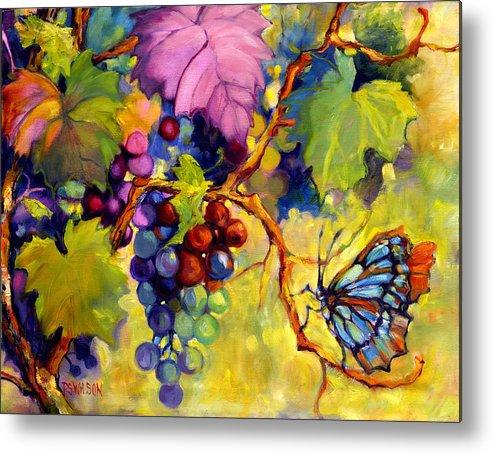 Butterfly Metal Print featuring the painting Butterfly And Grapes by Peggy Wilson