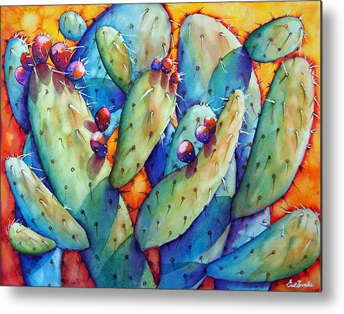 Still Life/ Cactus Metal Print featuring the painting Cactus by Gail Zavala