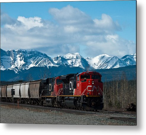 Alberta Metal Print featuring the photograph Canadian National Freight Train Leaving The Rockies - Hinton Alberta by R J Ruppenthal