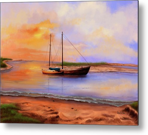 Yacht Metal Print featuring the painting Casualties Of A Storm by Sena Wilson