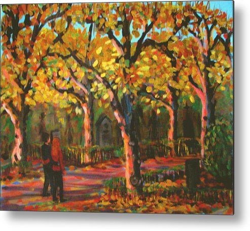 Walk Metal Print featuring the painting Cemetary In Autumn by Art Nomad Sandra Hansen