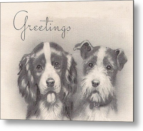 Two Dogs Metal Print featuring the painting Christmas Illustration 1252 - Vintage Christmas Cards - Two Dogs by TUSCAN Afternoon