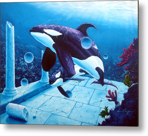 Dolphin Metal Print featuring the painting Citizens Of The Lost Empire by Daniel Bergren