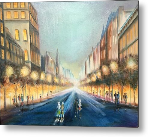 Metal Print featuring the painting City Lights by Stan Kieler