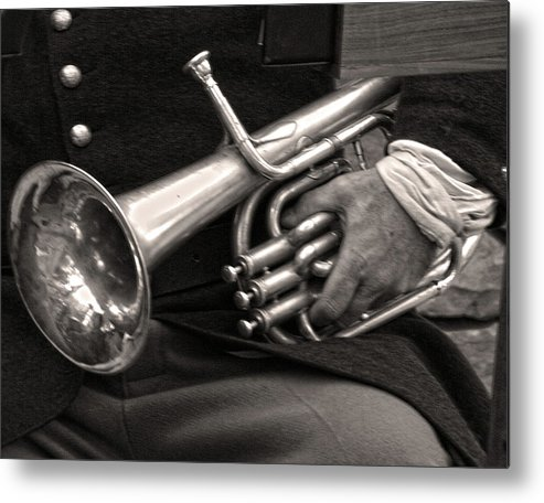 Civil War Metal Print featuring the photograph Civil War Trumpet by Helaine Cummins