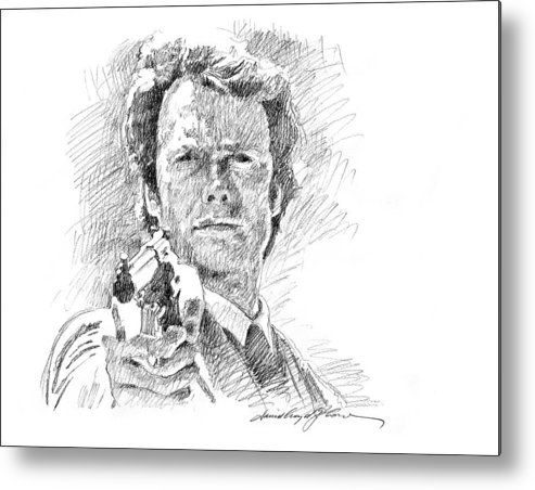 Clint Eastwood Metal Print featuring the drawing Clint Eastwood As Callahan by David Lloyd Glover