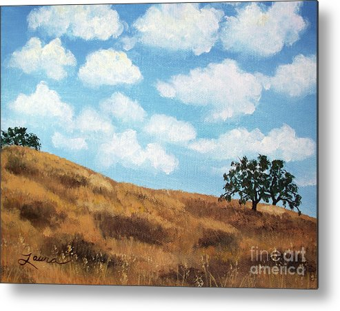 Landscape Metal Print featuring the painting Cloud Shadows by Laura Iverson