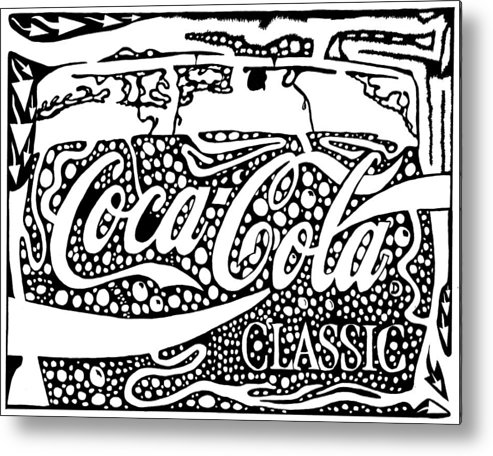 Coca Metal Print featuring the drawing Coca-cola Maze Advertisement by Yonatan Frimer Maze Artist