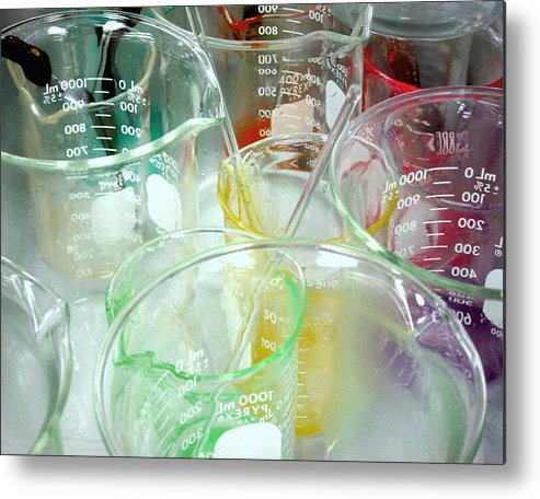 Chemistry Metal Print featuring the pyrography Colorful Experiment by Myrna Salaun