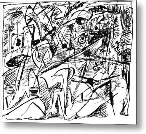 Abstract Metal Print featuring the drawing Composition Three by Vladimir Kozma