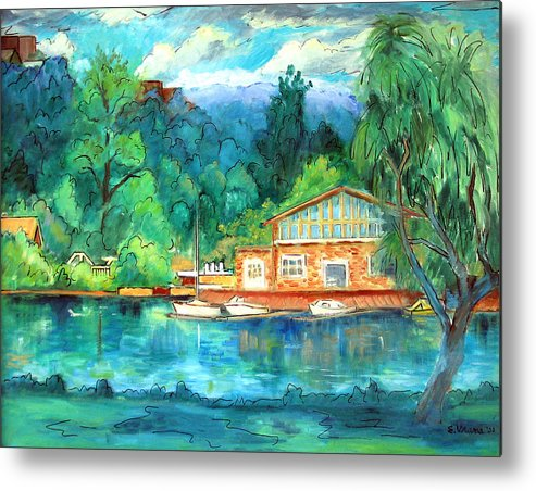 Cauga Lake Metal Print featuring the painting Cornell Boathouse by Ethel Vrana
