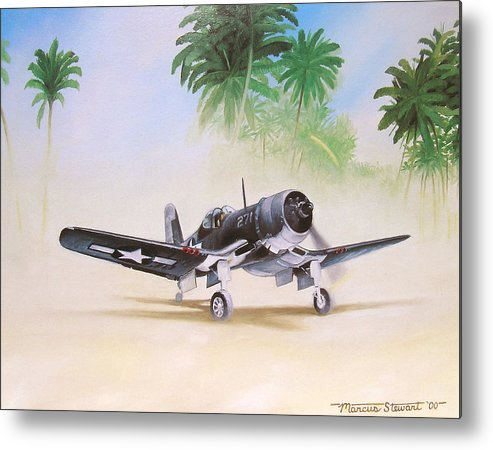 Aviation Metal Print featuring the painting Corsair Preflight by Marc Stewart