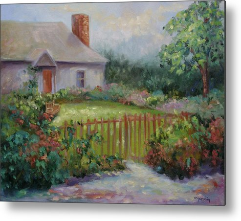 Cottswold Metal Print featuring the painting Cottswold Cottage by Ginger Concepcion