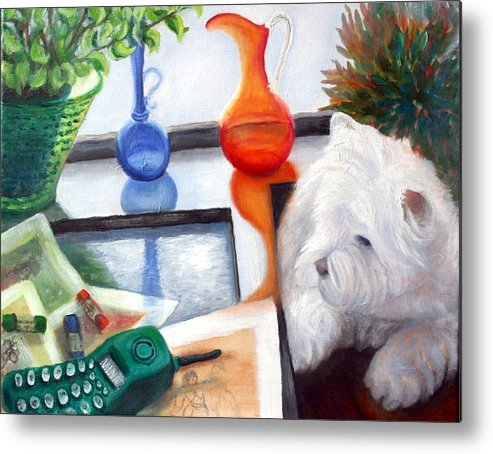 Dog Metal Print featuring the painting Creative Reflections by Minaz Jantz