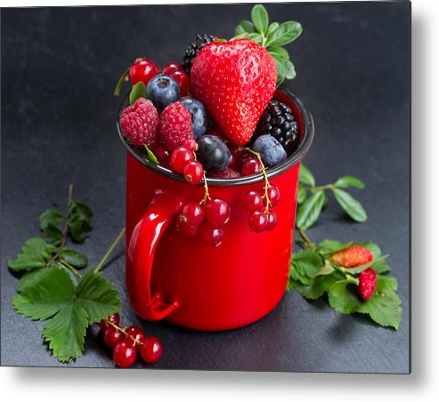 Currant Metal Print featuring the photograph Cup Of Fresh Berries by Anastasy Yarmolovich