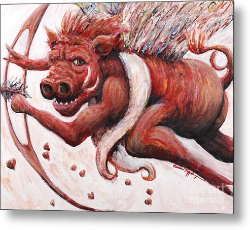 Pig Metal Print featuring the painting Cupig by Nadine Rippelmeyer