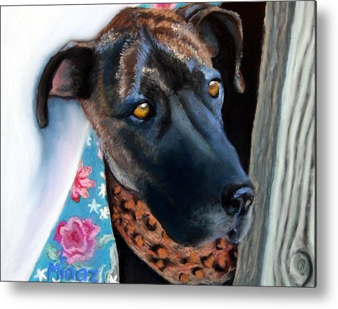 Great Dane Metal Print featuring the painting Whats Going On? by Minaz Jantz