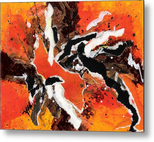 Abstract Metal Print featuring the painting Cyhm Orange by Tara Milliken