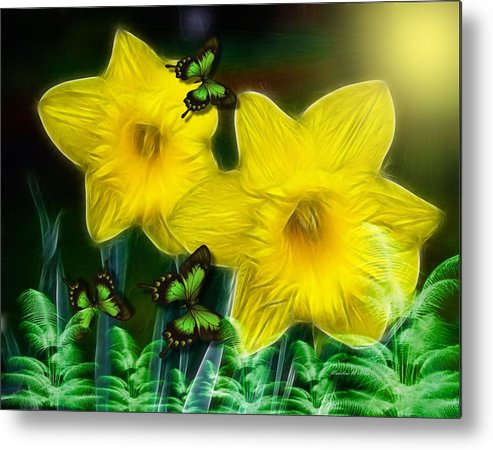 Smudgeart Metal Print featuring the digital art Daffodils In The Garden by Madeline Allen - SmudgeArt