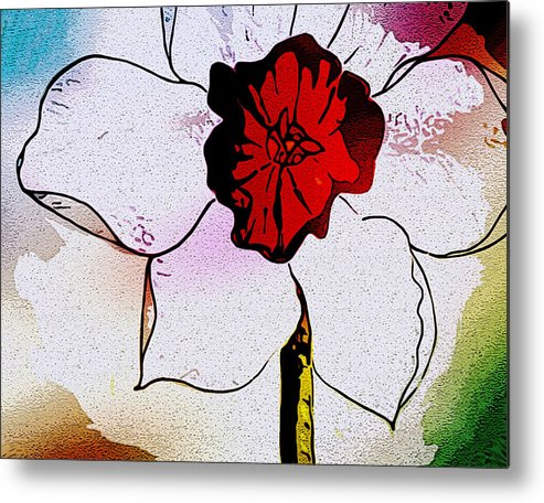 Daffodil Spring Flower Floral Red White Large Metal Print featuring the painting Daffy Down Dilly by Susan Epps Oliver