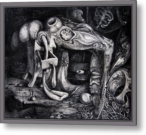 Drawing Metal Print featuring the drawing Dark Surprise by Otto Rapp