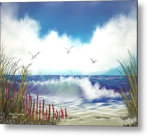 Sea Metal Print featuring the painting Day At The Beach by Harry Dusenberg